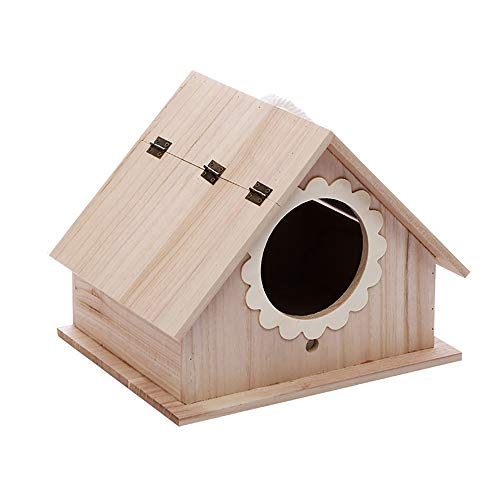 GFDE Pajarera 2 Piezas Puede Pintar la casa del pájaro Pequeño atrae Aves como Finch y perico, artesanía for niños Decoración for el Hogar Adorno de jardín (Color : B, Size : 26.5X21.5X21.5cm)