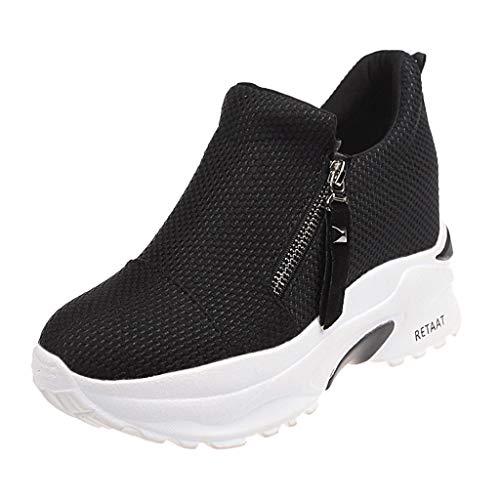 Tefamore Zapatillas de Cuña para Mujer Zapatillas de Deporte Zapatillas Altas Primavera/Verano Tacón Cuña 6CM