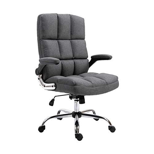 Mendler Bürostuhl HWC-J21, Chefsessel Drehstuhl Schreibtischstuhl, höhenverstellbar - Stoff/Textil dunkelgrau