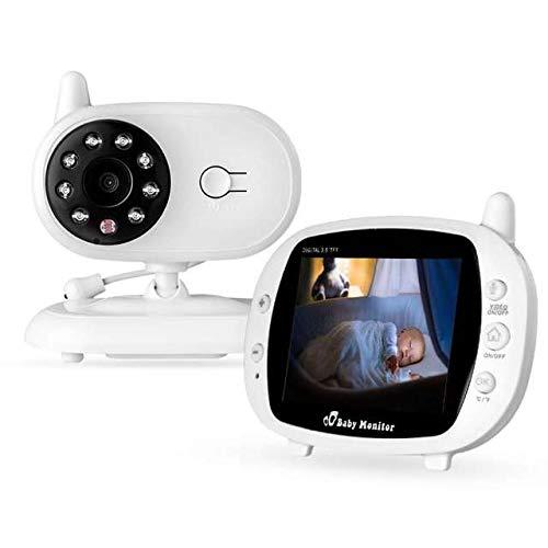 Draadloze videobabymonitor, indoor bedrade home beveiligingscamera met digitale camera, nachtzicht-temperatuurbewaking en 2-weg intercom-systeem