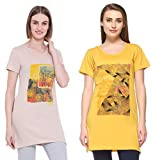 IN Love Women's Poly Cotton Half Sleeves Side Slits and Pocket Long Length Activewear T-Shirt (4X-Large)