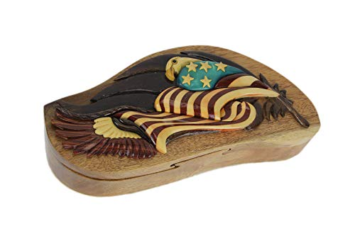 Caja de madera tallada a mano con diseño de águila americana y bandera en 3D
