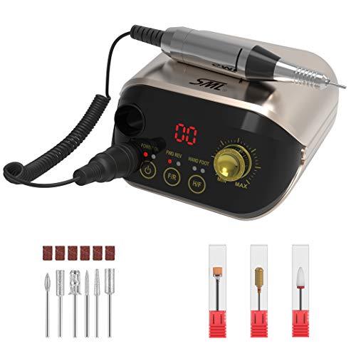SML M1 - Fresa para uñas eléctrica profesional en casa, lima eléctrica para manicura y pedicura de alta velocidad ajustable hasta 35000 rpm, taladro actualizado y silencioso con el kit (oro claro)