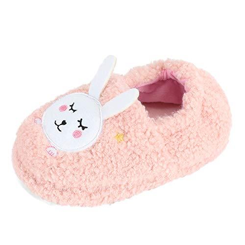 MASOCIO Hausschuhe Kinder Mädchen Winter Kinderhausschuhe Hüttenschuhe Plüsch Puschen Pantoffeln Slippers Hase Größe 30 31