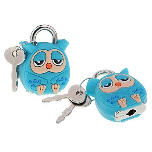 Sharplace 2 pcs Eule Cartoon Puppe Schöne Tiere Mini Vorhängeschloss Sicherheitsschloss Mit Schlüssel