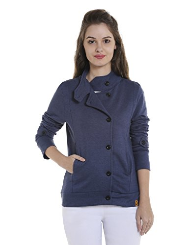 Campus Sutra Women's Cotton Jacket (AZW17_JKHNK_W_PLN_DN_AZ_XL, Denim, X-Large)