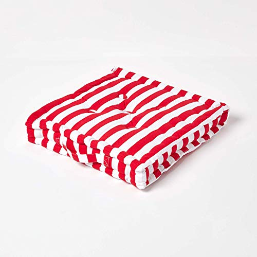 HOMESCAPES - Thick Stripe Red - 100% Cotton - Large Floor Cushion - Deep Scarlet - 50 x 50 x 10 cm Square - Indoor - Garden - Dining Chair Booster - Seat Pad Cushion.