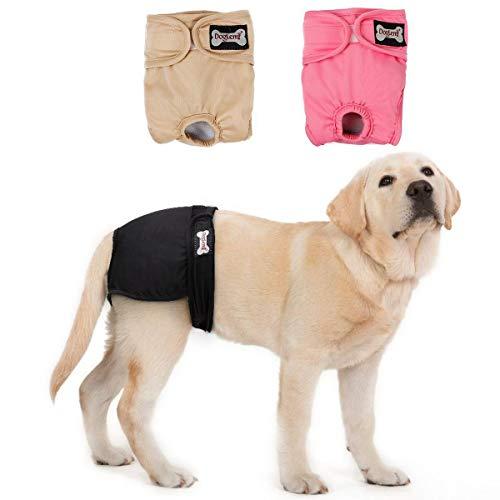 Doglemi Lot de 3 couches lavables pour chiens femelles Culottes hygiéniques pour chiens en chaleur, 5 tailles disponibles (XS:16-22cm)