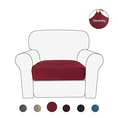 PureFit Stretch Velvet Non-Slip Sofa Couch Cushion Cover - Removable Sofa Seat Covers for Dogs, Washable Elastic Furniture Slipcovers Protector for Kids and Pets (Chair, Wine)