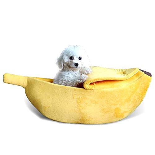 Cama Suave Y Linda para La Casa del Animal Doméstico Gatitos Encantadores para Gatos Y Perros Forma de Plátano Mullido Abrazo Cama para Dormir Cama para Mascotas Pequeñas