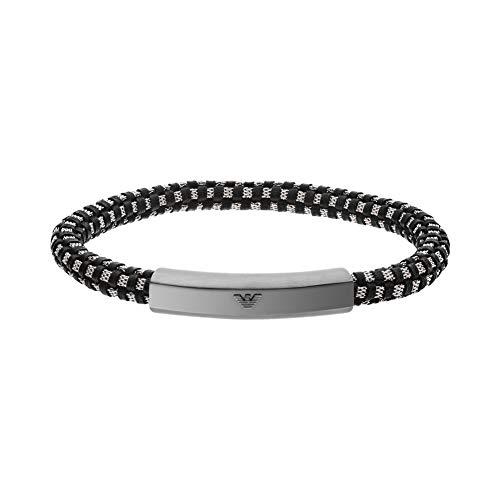 Emporio Armani EGS2665060 Herren Armband Edelstahl Silber Schwarz 19,5 cm