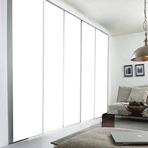 Sun World Schiebegardinen nach Maß, hochqualitative Wertarbeit, alle Größen verfügbar, Maßanfertigung, Schiebevorhang, Raumteiler, Flächenvorhang, Blickdicht (265cm Höhe x 80cm Breite/Polar Weiß)