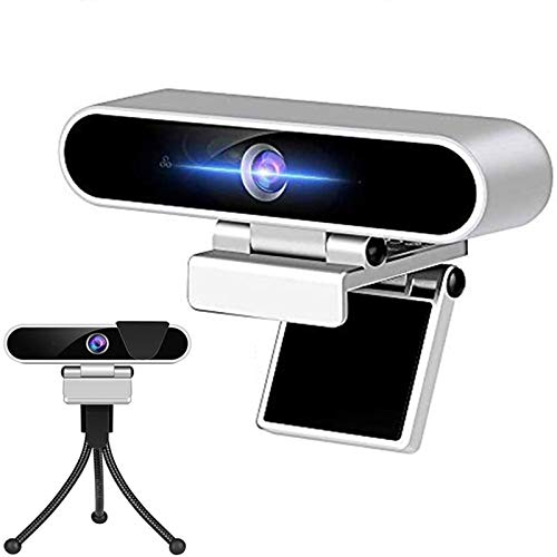 Webcam mit Mikrofon, Kamera für Computer Desktop 1080P HD Webcam, Plug & Play USB-Webcam für Laptop Flexibler drehbarer Clip und Stativ, Datenschutzabdeckung für Videoanrufe Aufzeichnungskonferenzen