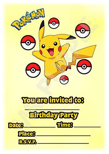 Pokemon Geburtstagsparty-Einladungen – Pikachu Portrait Pokeball Design – Partyzubehör (Packung mit 12 Einladungen im A5-Format) WITH Envelopes