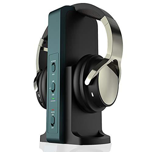 TV Funkkopfhörer, Over-Ear Kabellose Kopfhörer mit 2.4GHz Digitales Ladestation für Fernseher HiFi DVD, Sender mit Optisches und Aux Port