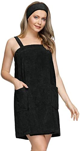 Womens Bath Towel Set Shower Spa Gym Body Wrap with Snap Closure Robes Black 2XL product image