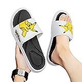 KaO0YaN Sandales à glissière Pokemon, Pantoufles pour Enfants Pikachu, été garçons et Filles bébé Maison Salle de Bain Fond Mou antidérapant Plage Sports Sandales-White_EU36