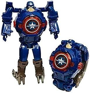 Captain America Transformer Hero Watch Robot Toy Convert to Digital Wrist Watch for Kids Avengers Robot Deformation Watch Hero Figures Plus Watch