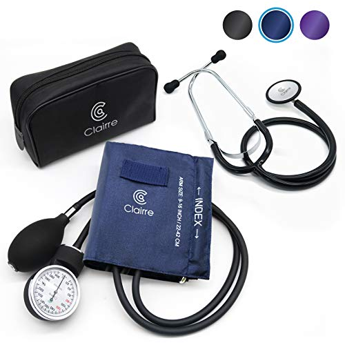 Clairre Professional Sphygmomanometer Manual Blood Pressure Cuff and Stethoscope Kit for Nurses/Doctors/Nursing Students, Carrying Case Included, Universal Cuff Size: 9-16 inch (Navy Blue)