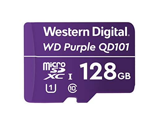 Western Digital WD Purple SC QD101 128GB Smart Video Surveillance microSDXC Card, Ultra Endurance Up to 64 TBW