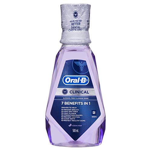 Oral-B Pro-Health Clinical Alcohol Free Fluoride Rinse Mouthwash Clean Mint, 500 Milliliters