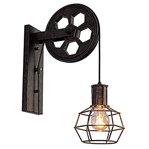 Luz de Pared Vintage Retro, Sombra de Techo, polea de elevación, lámpara de Pared Industrial, Accesorio de Hierro, Loft, cafetería, Bar, lámpara de Aplique Ajustable