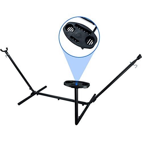 Zupapa Hammock Stand Heavy Duty 550lbs Capacity, 2 Person 9 ft Frame Bonus Cup Holder Tray, Space Saving Portable Universal Outdoor/Indoor