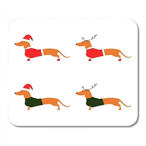 BGLKCS Rentier Schwarzer Hund von süßem Dackel Braun mit Weihnachtsanzug Weiß Flacher Stil Grün Foxy Wurst Mauspad