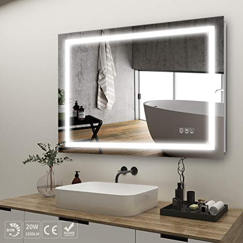 Tonffi 32x24 inch LED Lighted Bathroom Mirror, Wall Mounted Bathroom Vanity Mirror, -