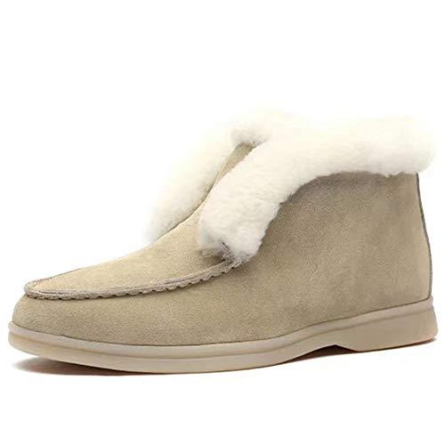 WZRY Botas Nieve Mujer Otoño Invierno Calentar Piel Forro Botines Moda Snow Boots Cordones Zapatillas Planas Negro Caqui 36-43D-36