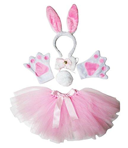 Petitebelle Diadema Bowtie Guantes de cola Tutu niña Disfraz de 5 piezas Un tamaño Conejito rosado Blanca