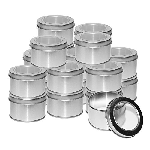 Kurtzy Latas Redondas de Metal Pequeñas (20 Pz) - 4 x 6.5cm Latas de Aluminio con Tapa - Cajas Metalicas para Cosméticos, Bálsamo Labial, Viajes - Set Contenedor Especias con Ventana Transparente