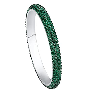 Stainless Steel Round Green Crystal, Pave Bangle Bracelet (8.5mm), 8 inches