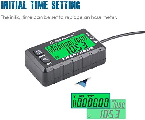 Alert RPM Reminder Maintenance Reminder HM058B-BU Runleader Hour Meter Tachometer Initial hours Settable Use for Lawn Mower Generator Marine ATV and Gas Powered Equipment Battery replaceable