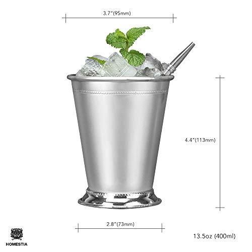 Beaded Mint Julep Cup Silver Stainless steel Moscow Mule Mug 12oz by Homestia for mule cocktail beverages soft drinks Handcrafted