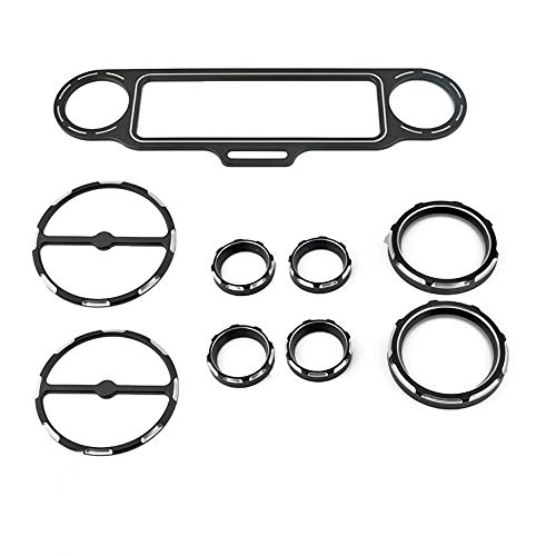 Stereo Accent+Speedometer+Speaker Trim Ring 9pcs Kit CNC For Harley Touring Electra Glide Street Glide 1996-2013