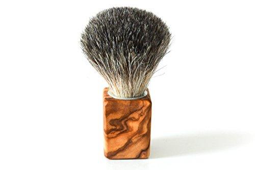 D.O.M.® Rasierpinsel CUBUS mit naturbelassenem Griff aus Olivenholz - Besatz Dachshaar oder Vegan (Mit Kunsthaar Vegan)