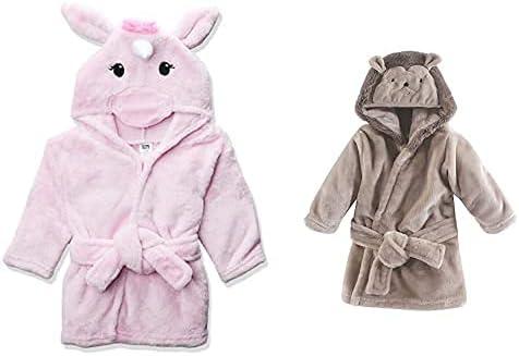 Hudson Baby Girl Plush Animal Face Bathrobe 2-Pack, Pink Unicorn Hedgehog