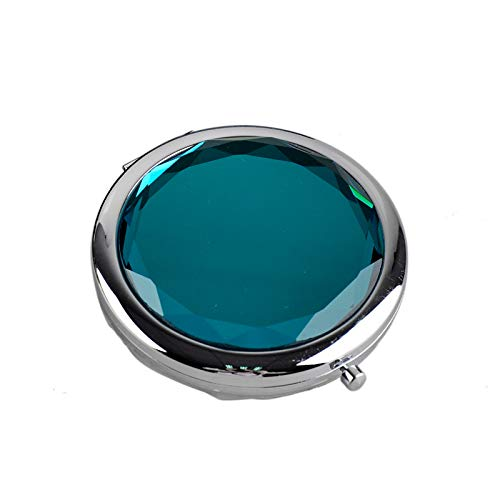 HUIHH Metal Pocket Makeup Mirror Fold Round Crystal Engraved Cosmetic Compact Mirror Portable 70 x 15 mm D