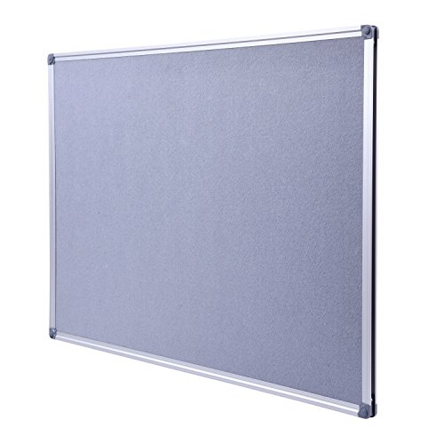 DexBoard Aluminum Framed Wall- Mounted 48 x 36 Inch Large Fabric Bulletin Board Message Memo Pin Board for Home Office School, Grey