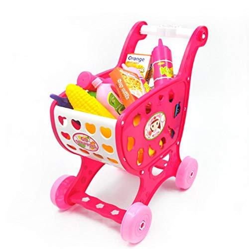 Eternitry Niños Carrito de Compras Trolley Niños Niñas Jugar rol Simulación Supermercado Tienda Accesorios Comida Frutas Verduras Kit Niño pequeño Pretender Juguetes