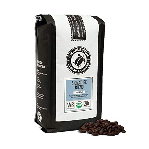 Charleston Coffee Roasters | Specialty Organic Whole Bean Bag | Hand Picked, Premium Slow Roast | Signature Blend (2lb)