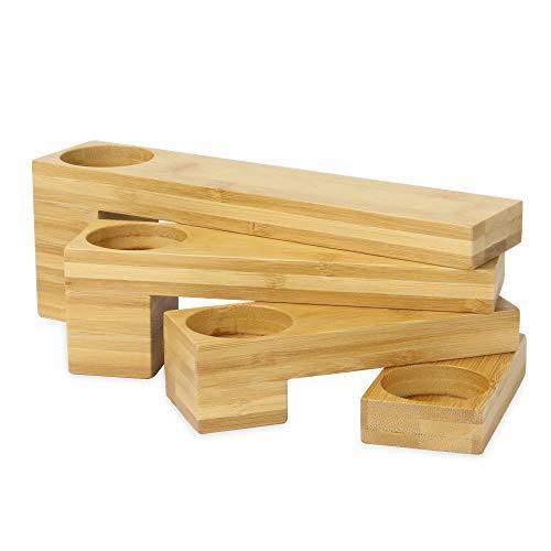Portavelas de bambú | Portavelas plegable de 4 niveles | Decoración ecológica de bambú natural para el hogar | Sostiene hasta 4 velas | M&W