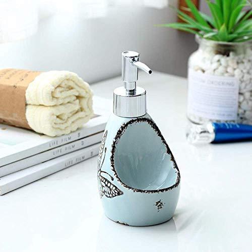 ZLXLX lotion fles vloeibare zeepbak, modern Oriental Simple Original Design handbeschilderd Butterfly Blue Ceramics mini desinfectiefles voor de keuken badkamer zeepdispenser, 250 ml