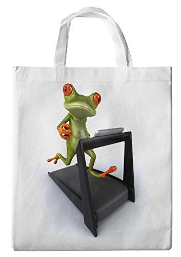 Merchandise for Fans Einkaufstasche- 38x42cm, 8 Liter - Motiv: 3D Comic Frosch auf dem Laufband - 34