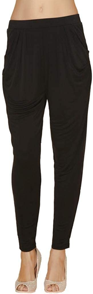 Forever Angel Women's 100% Pure Silk Knitted Trendy Baggy Pants Casual Harem Size M Black