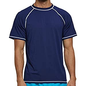 Tonna(トンナ) メンズ 水着 ラッシュガード 半袖 全8色 水陸両用 スイムウェア フィットネス スポーツシャツ [UVカット UPF50+・吸汗速乾・高弾力] マリンスポーツ おしゃれ 大きいサイズ S~2XL (Sサイズ・紺青)