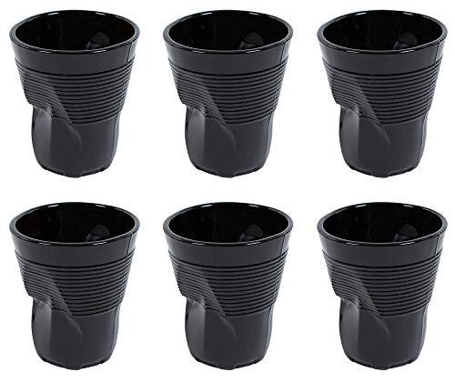 Kaleidos Set 6 Bicchieri Accartocciati 22 cl Ø8 cm in Vetro Pressato Neri