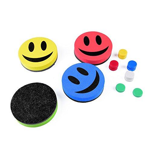 4 x Smile Whiteboard Schwämme, magnetisch, Trockenreinigung, Wischer, Tafelwischer + 10 Magnete