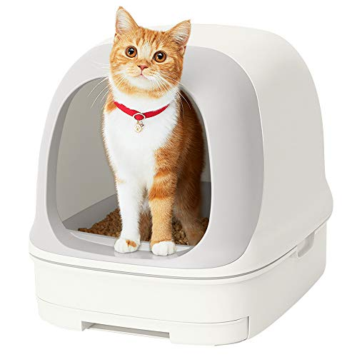 [Amazon限定ブランド] スマイリーBOX 猫用トイレ本体 ニャンとも清潔トイレセット [約1か月分チップ・シート付] ドームタイプ クールホワイト(猫ちゃん想い設計) 猫砂 クールホワイト